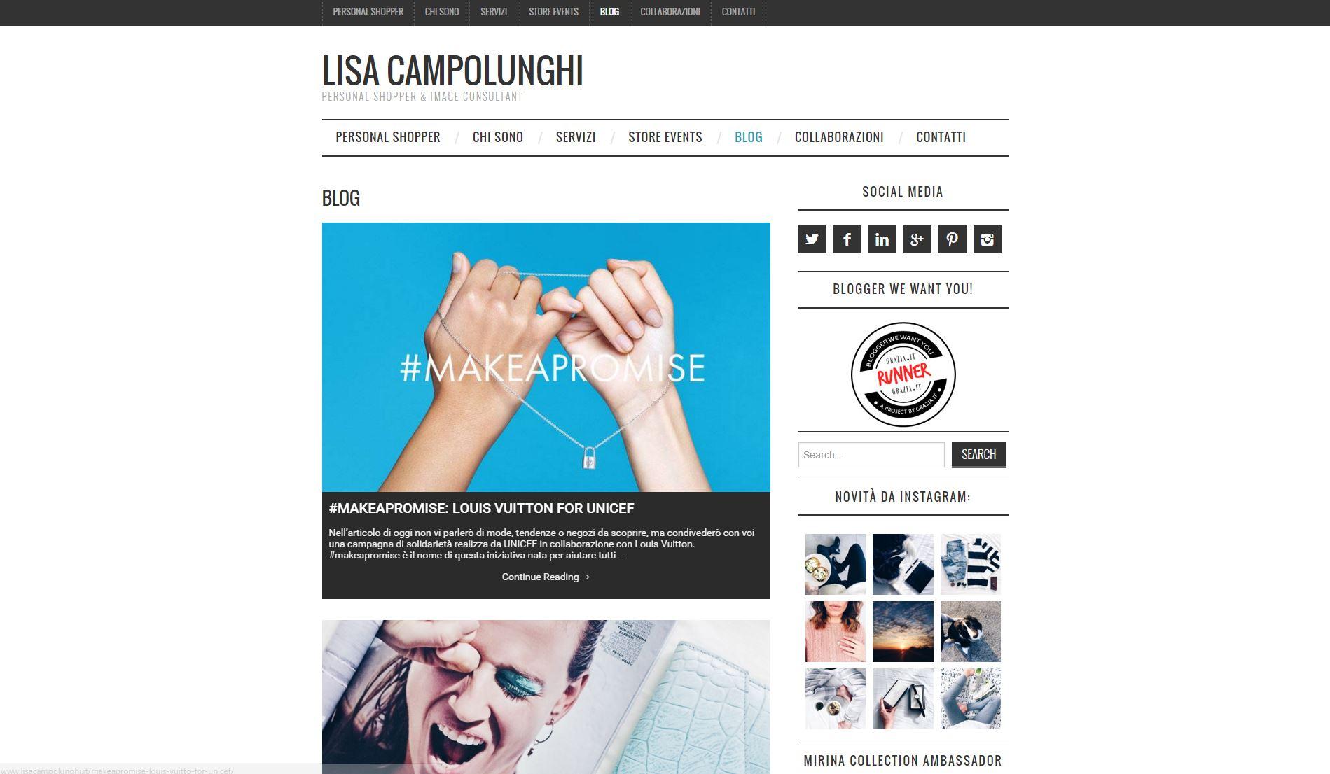 creazione sito web blog wordpress personal shopper image consultant lisa campolunghi