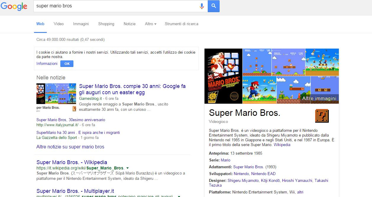supermario google easter egg