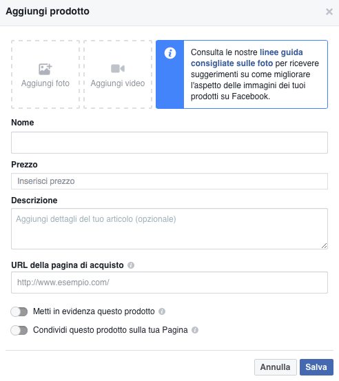 come creare una vetrina su facebook
